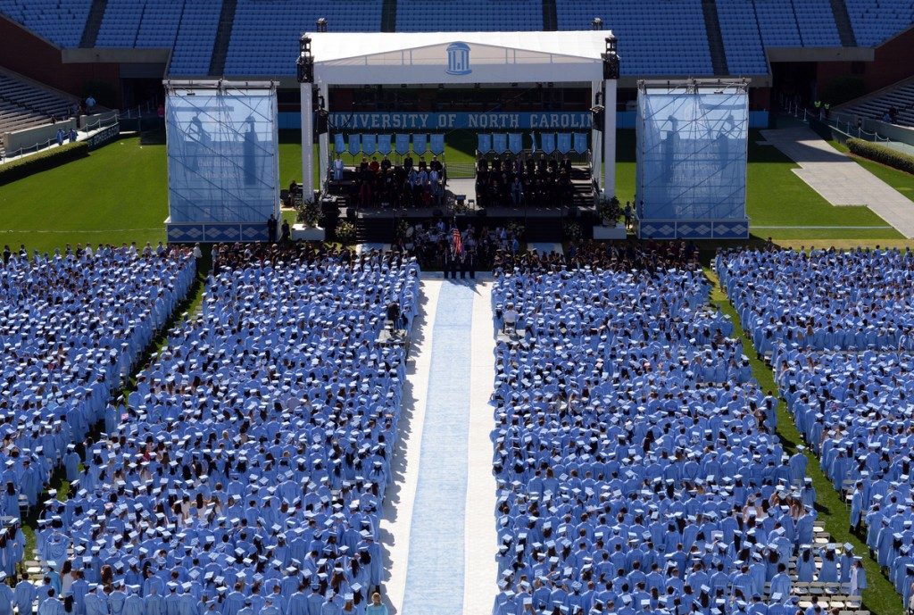 Carolina graduates at graduation at Kenan Stadium