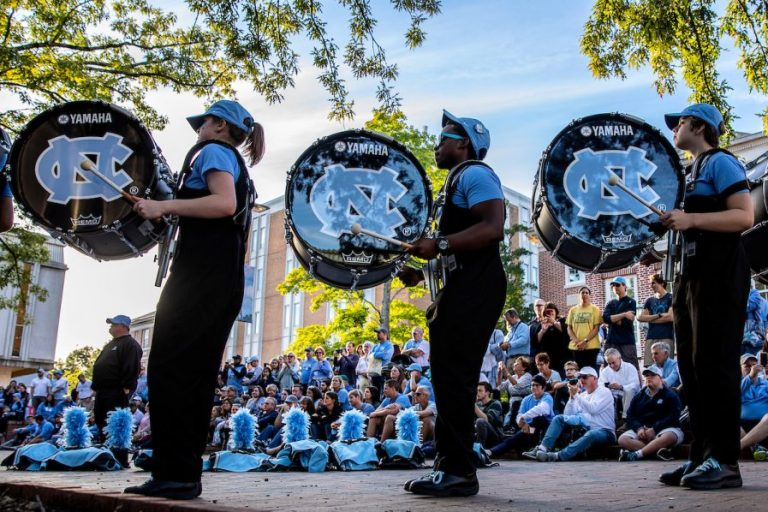 The UNC Marching Tar Heels perform in the Pit before a football game