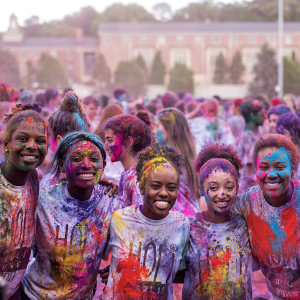 Students pose for a picture during Holi Moli