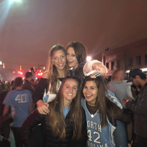 First-year Alyssa and friends celebrating a Carolina victory on Franklin Street
