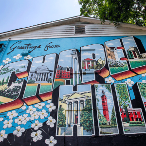 """Photo of """"Greetings from Chapel Hill"""" mural"""