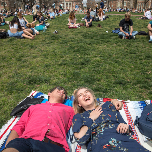 Photo of students relaxing on Polk Place