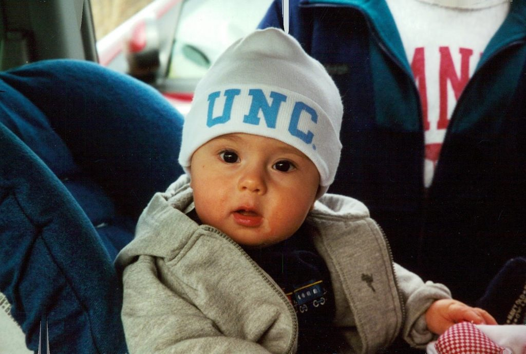 A photo of Carolina sophomore and Chapel Hill native Drew Campbell as a baby