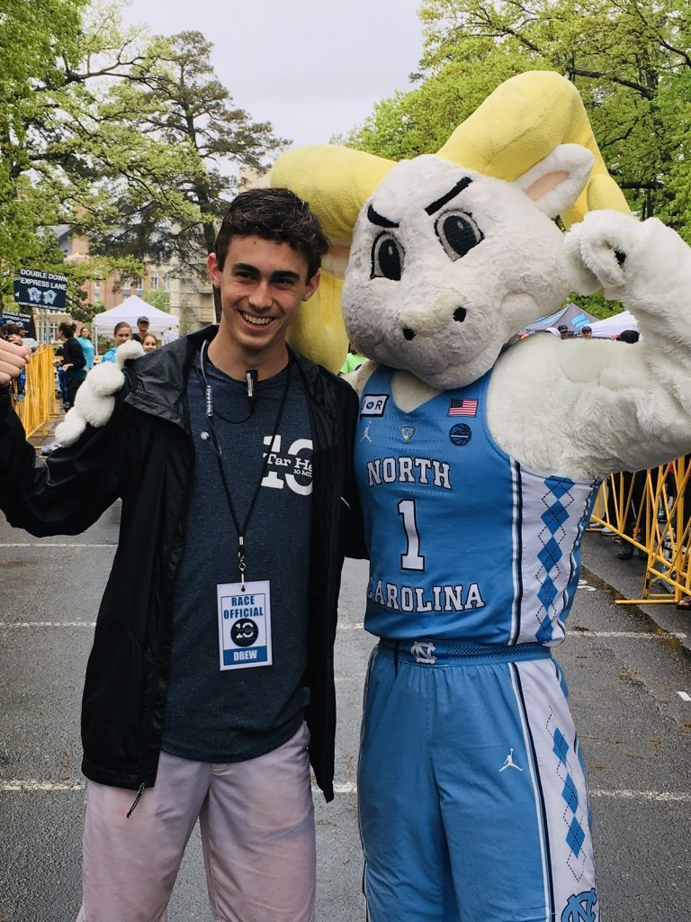Carolina sophomore and Chapel Hill native Drew Campbell hangs out with Rameses